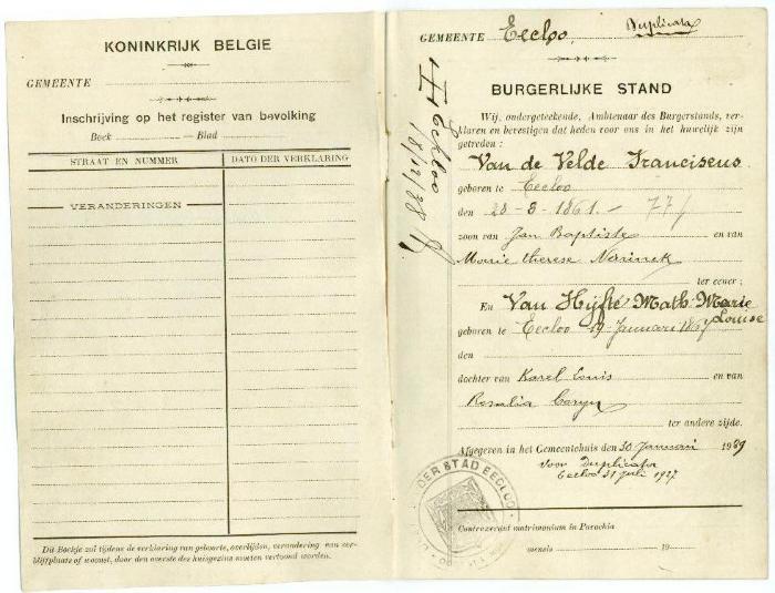 Duplicaat van een trouwboekje uit 1927