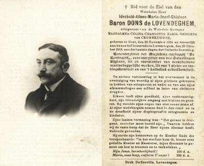 Bidprentje baron Idesbald Dons de Lovendeghem
