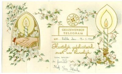 Wenstelegram voor huwelijk, 1950
