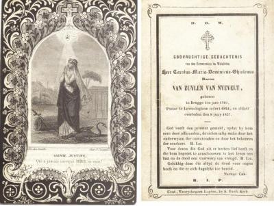 Bidprentje Van Zuylen Van Nyevelt