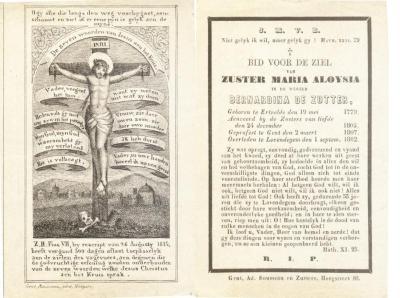Bidprentje Zuster Maria Aloysia