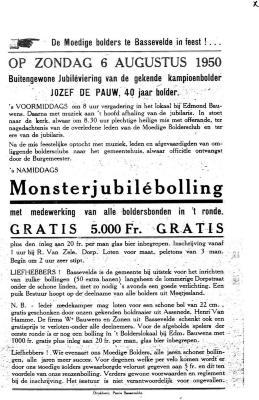 "Jubileumbolling ""De Pauw Jozef"", 1950, Bassevelde"