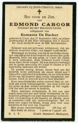 Bidprentje Edmond Caboor, Kleit, 1918