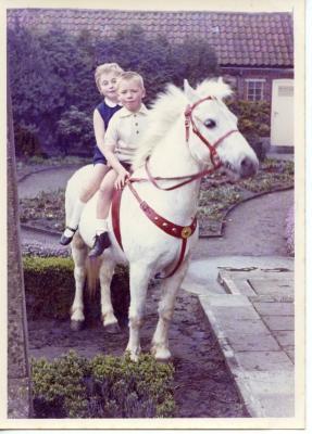 Voor de schoolfotograaf op de rug van een pony