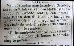 Oproep tot herinrichting wekelijkse biggenmarkt in Eecloonaar van 1920