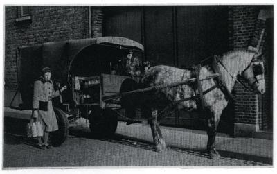 De melkboer aan huis in Knesselare, ca.1950