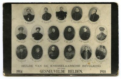 Huldepostkaart gesneuvelden in de Eerste Wereldoorlog, Knesselare