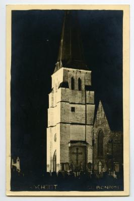 Nachtfoto kerktoren, Waarschoot