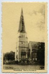Postkaart kerk en standbeeld, Waarschoot
