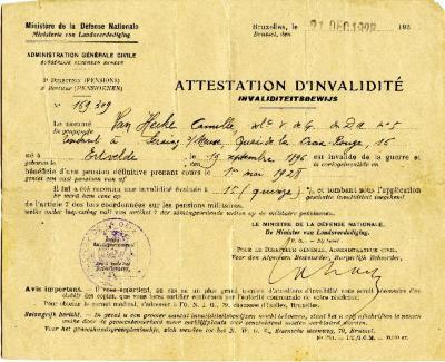 Invaliditeitsbewijs, Ertvelde, 1928