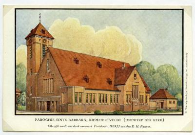 Ontwerp voor buitenzijde van de tweede parochiekerk van Rieme