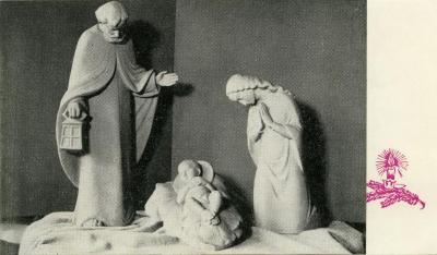 Kerstkaart van de Sint-Barbarakerk Rieme, 1963