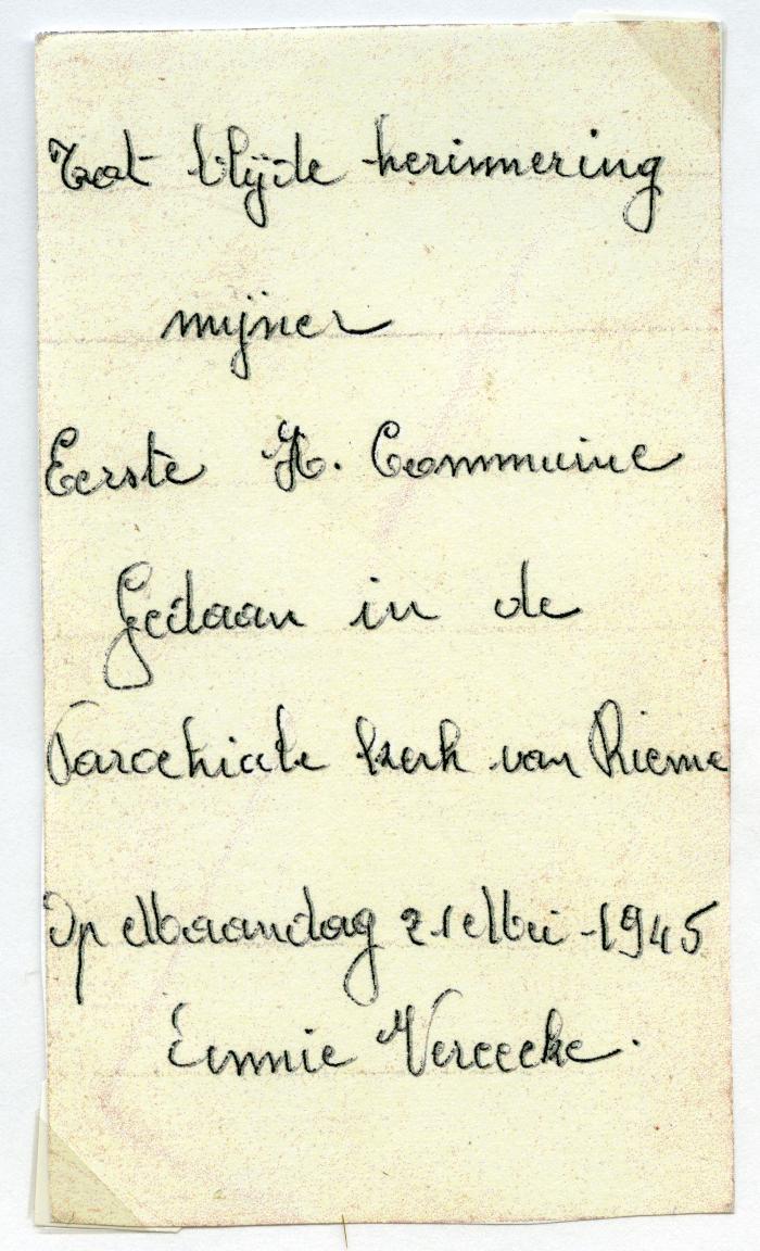 Communiekaartje Annie Vereecke 1945, Rieme