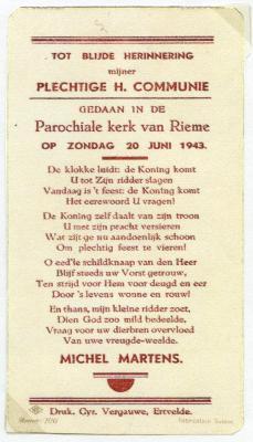 Communiekaartje Michel Martens 1943 (I), Rieme