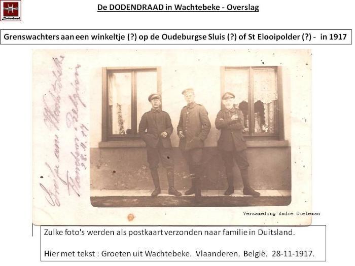Prentkaarten van grenswachters aan de Dodendraad van Wachtebeke