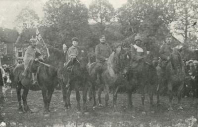 Soldaten te paard, Kaprijke, 1914-1918