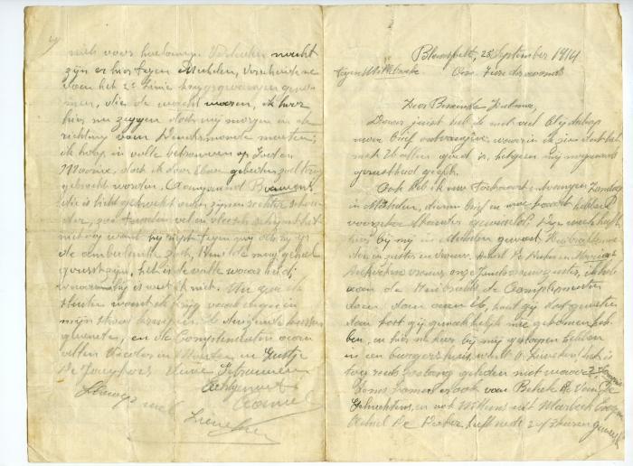 Brief Kamiel De Smet (Blaasveld), Sleidinge, 1914
