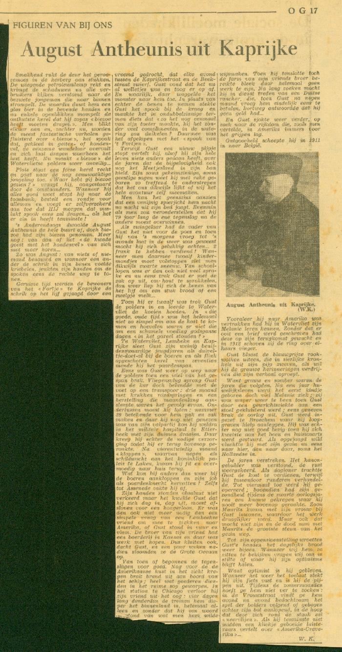 Krantenknipsel over August Antheunis