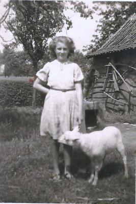 Maria Van Maldeghem met lam, Aalter, 1930-1940