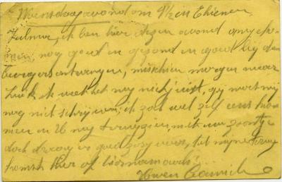 Postkaart Kamiel De Smet aan zijn vrouw (Tienen), Sleidinge, 1914