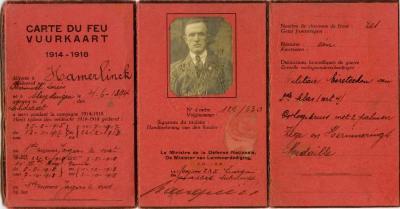Vuurkaart Kamiel Hamerlinck, Sleidinge, 1914-1918