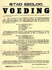 Voedingscomitées in Eeklo, 1917