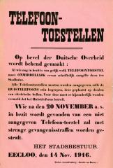 Aangifte telefoontoestellen, Eeklo, 1916