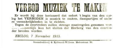 Muziekverbod, Eeklo, 1915