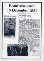 Krantenknipsels over Michel Celie, 10 december 1951