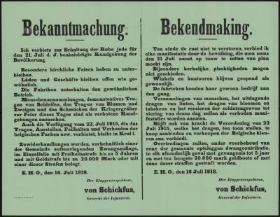 Tekstaffiche WOI Kommandantur Ertvelde