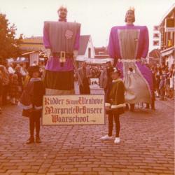 Reuzen Hans en Grietje op de Kouter te Gent op 14 juli 1980