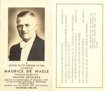 Bidprentje Maurice De Waele