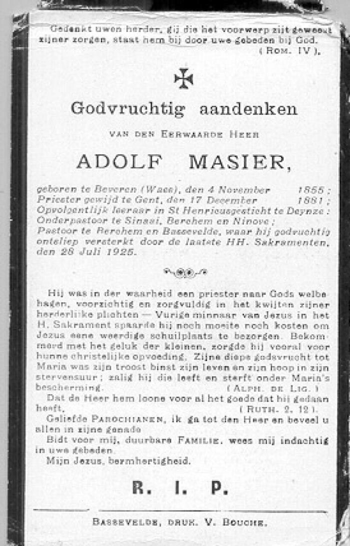 Bidprentje van Adolf Masier