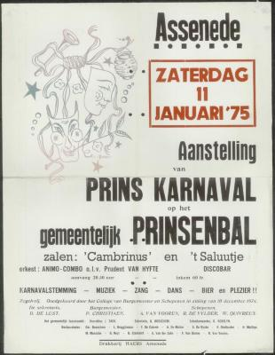 Aanstelling van prins karnaval op het gemeentelijk prinsenbal Assenede